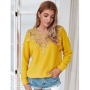 Kameakay Harmony Yellow Lace Sweater